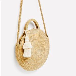 •ZARA• Round Raffia Basket Bag